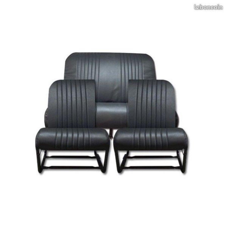 Housse d'origine pour siège AV G de DYANE (1 coin arrondi) en simili noir Citroën 2CV-2