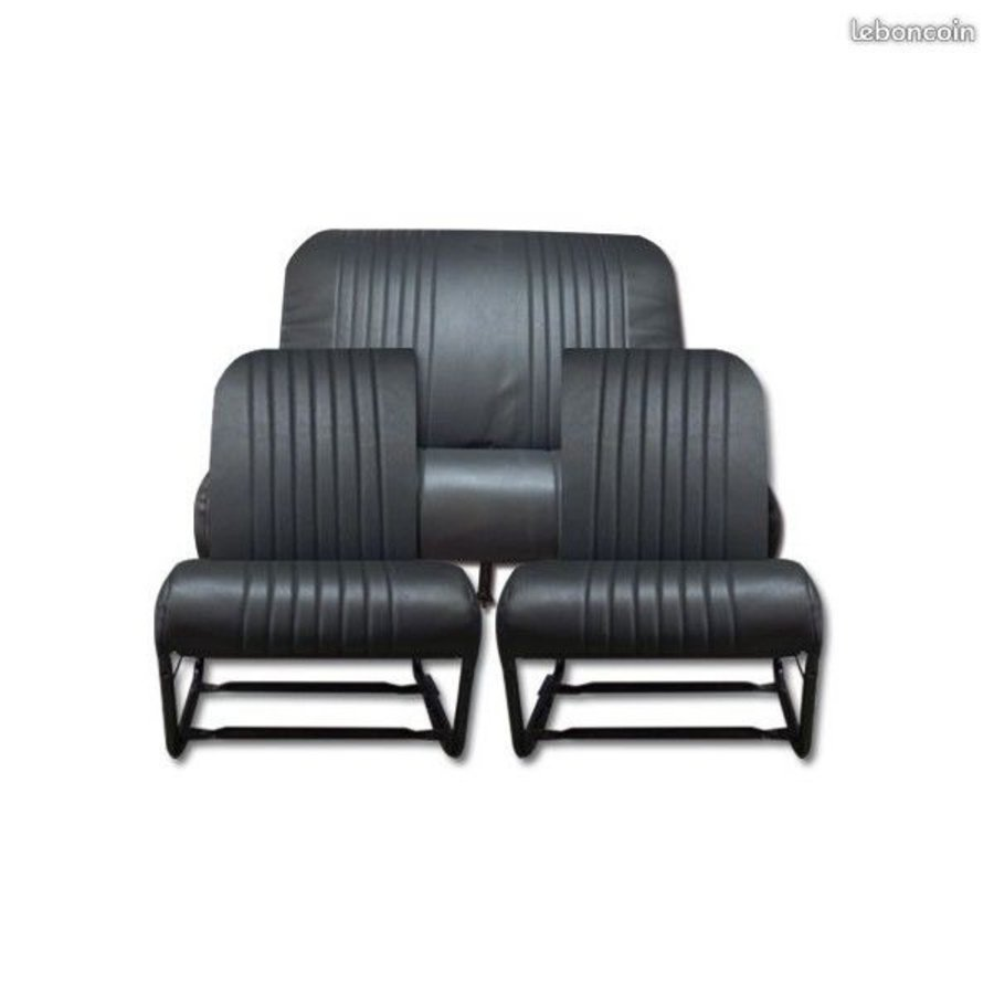 Original seat cover set for front R seat in black leatherette (1 round angle) Dyane Citroën 2CV-3