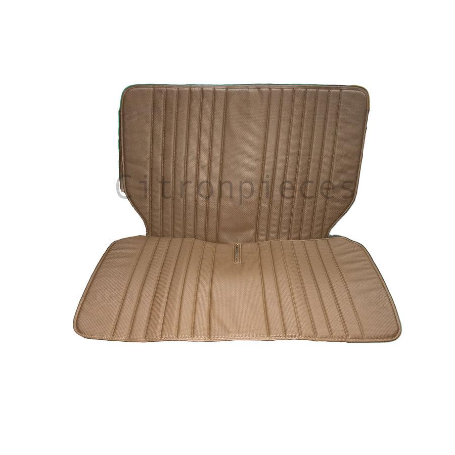 Original seat cover set for rear bench in brown leatherette DYANE Citroën 2CV-2