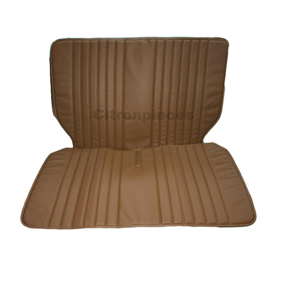 Original seat cover set for rear bench in brown leatherette DYANE Citroën 2CV-1
