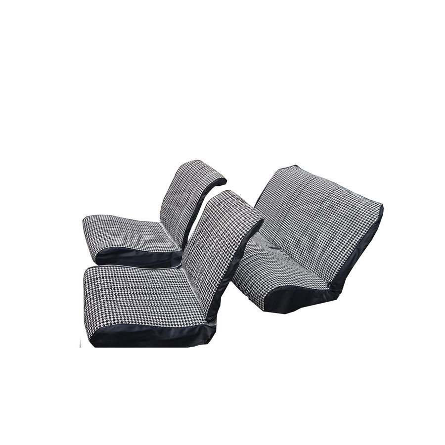 """Original seat cover set for rear bench in """"pied de poule"""" black and white cloth Charleston Citroën 2CV-2"""