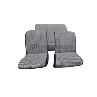 """thumb-Set van 2 voorstoelhoezen (1 ronden hoek-assym) en 1 achterbank """"pied de poule"""" (zwart wit) met zwart skai zijkanten.  Charleston Citroën 2CV.-1"""