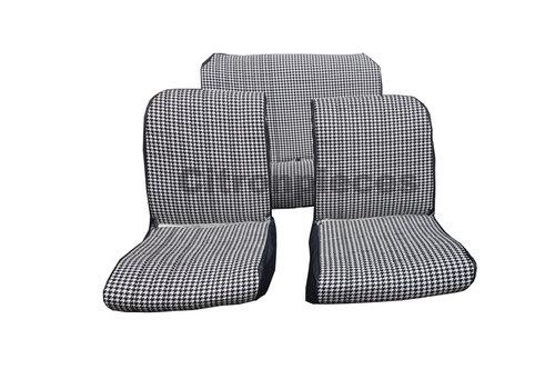 """2CV Set van 2 voorstoelhoezen (1 ronden hoek-assym) en 1 achterbank """"pied de poule"""" (zwart wit) met zwart skai zijkanten.  Charleston Citroën 2CV."""