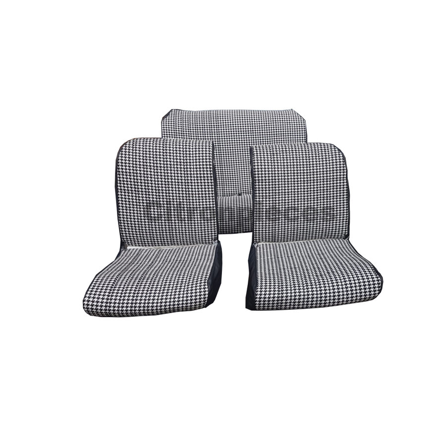 """Set van 2 voorstoelhoezen (1 ronden hoek-assym) en 1 achterbank """"pied de poule"""" (zwart wit) met zwart skai zijkanten.  Charleston Citroën 2CV.-1"""