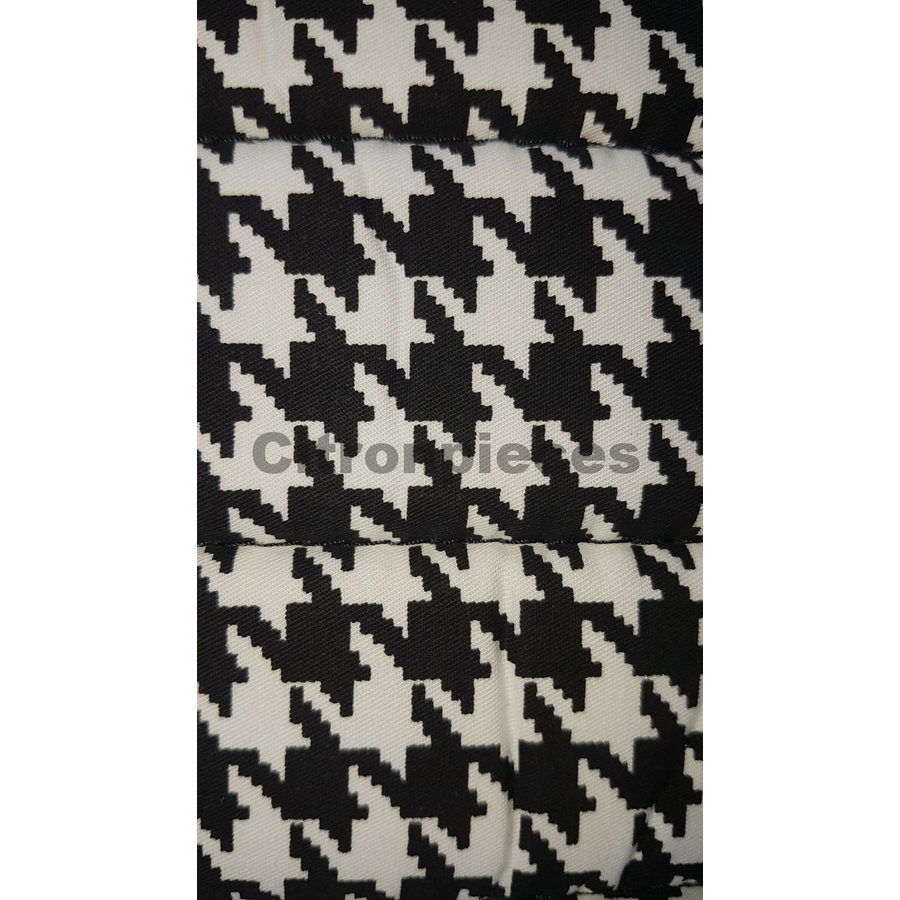 """Original seat cover set for rear bench in """"pied de poule"""" black and white cloth Charleston Citroën 2CV-3"""