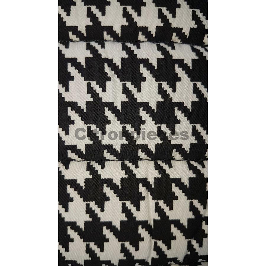 """Set van 2 voorstoelhoezen (1 ronden hoek-assym) en 1 achterbank """"pied de poule"""" (zwart wit) met zwart skai zijkanten.  Charleston Citroën 2CV.-3"""