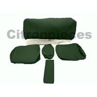 Garniture pour banquette AR en étoffe vert unie pour assise 1 pièce dossier 4 pièces Citroën ID/DS