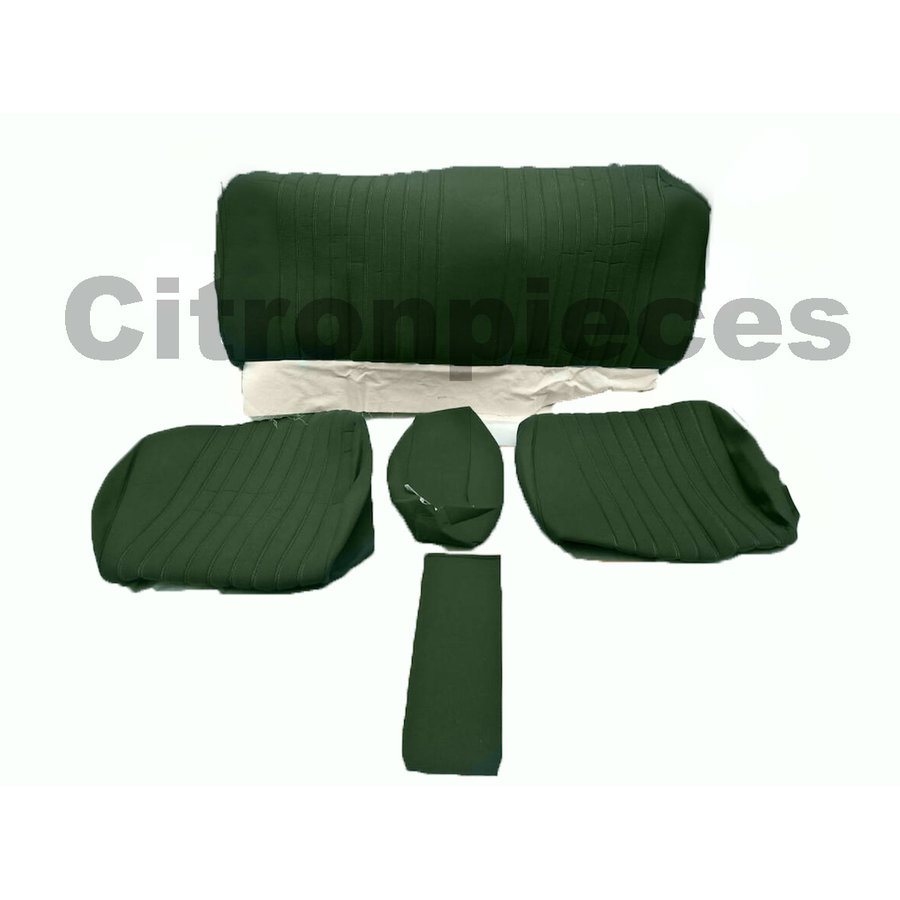 Garniture pour banquette AR en étoffe vert unie pour assise 1 pièce dossier 4 pièces Citroën ID/DS-1