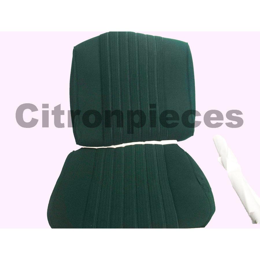 Garniture siège AV PA en étoffe vert (partie centrale en deux tons) pour assise + dossier Panneau de fermeture en simili blanchâtre Citroën ID/DS-1