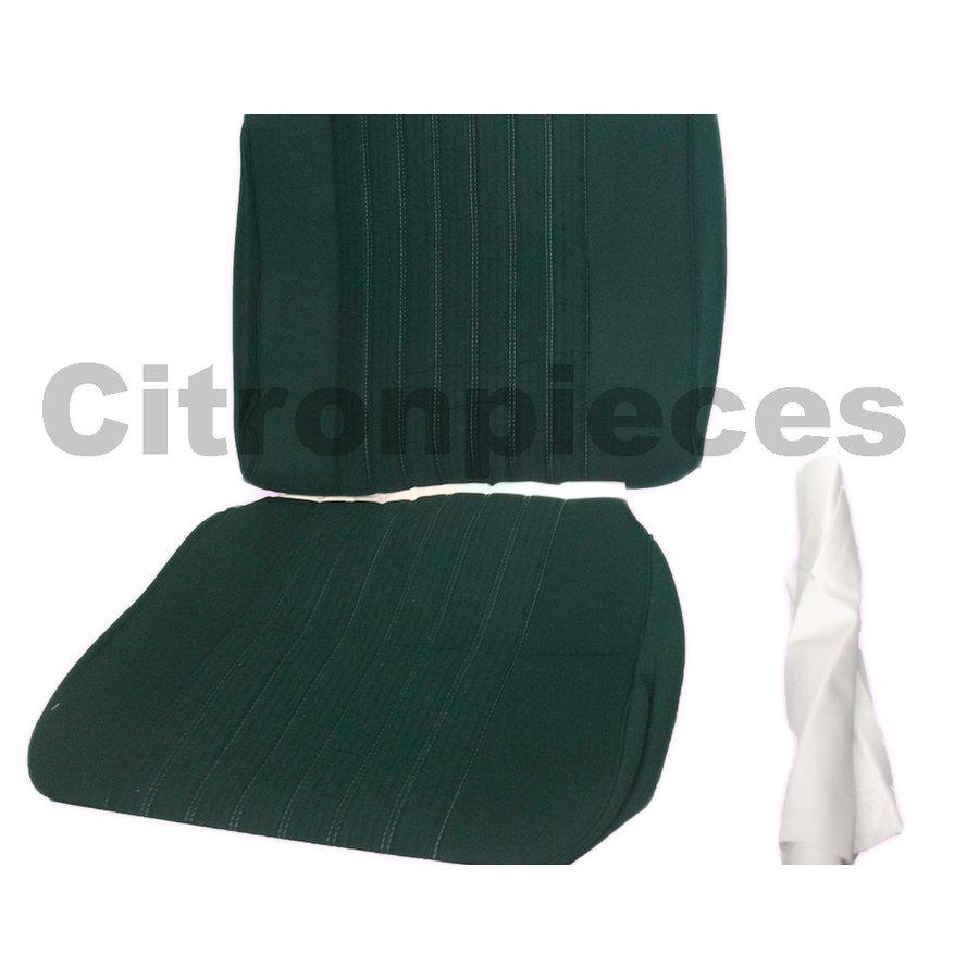 Garniture siège AV PA en étoffe vert (partie centrale en deux tons) pour assise + dossier Panneau de fermeture en simili blanchâtre Citroën ID/DS-2