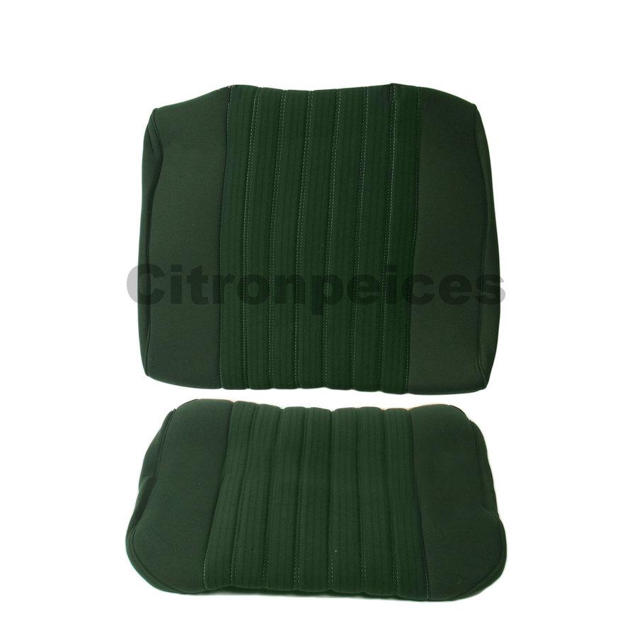 Garniture pour banquette AR PA en étoffe vert (partie centrale en deux tons) pour assise 1 pièce dossier 4 pièces Citroën ID/DS-1