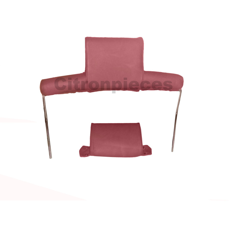 Head rest with red leather trimming wide model 2 pieces Citroën ID/DS-1