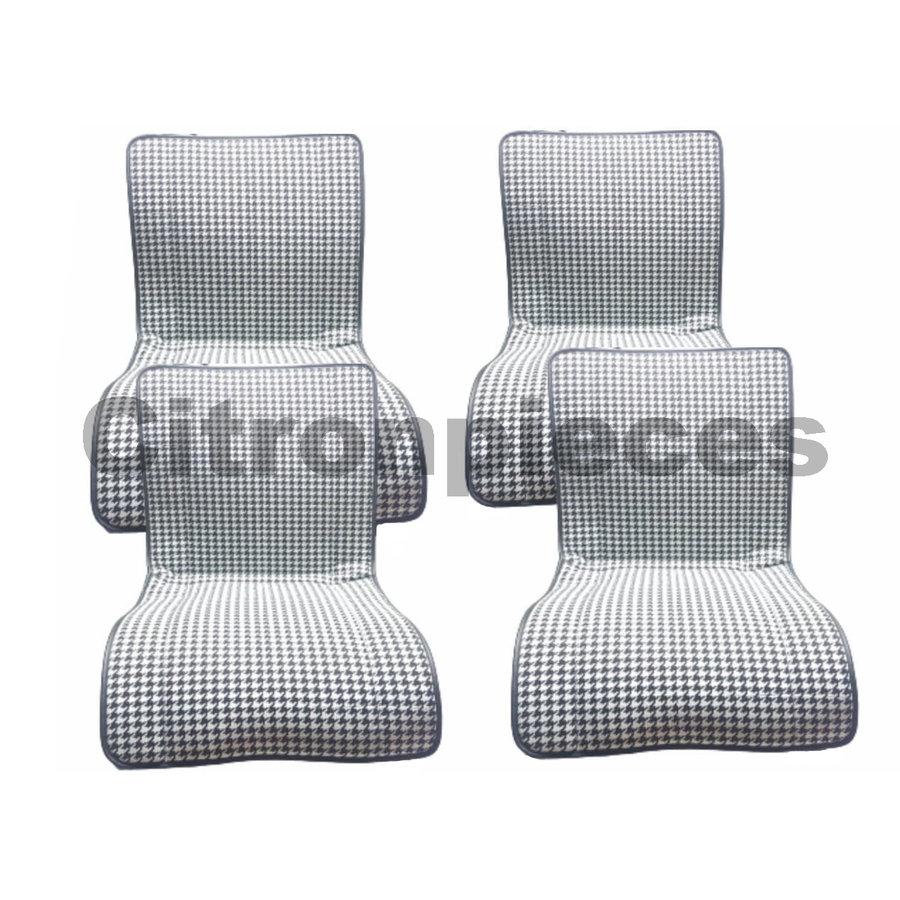 "Original seat cover set for rear bench in ""pied de poule"" black and white cloth Charleston Citroën 2CV  - Copy-1"