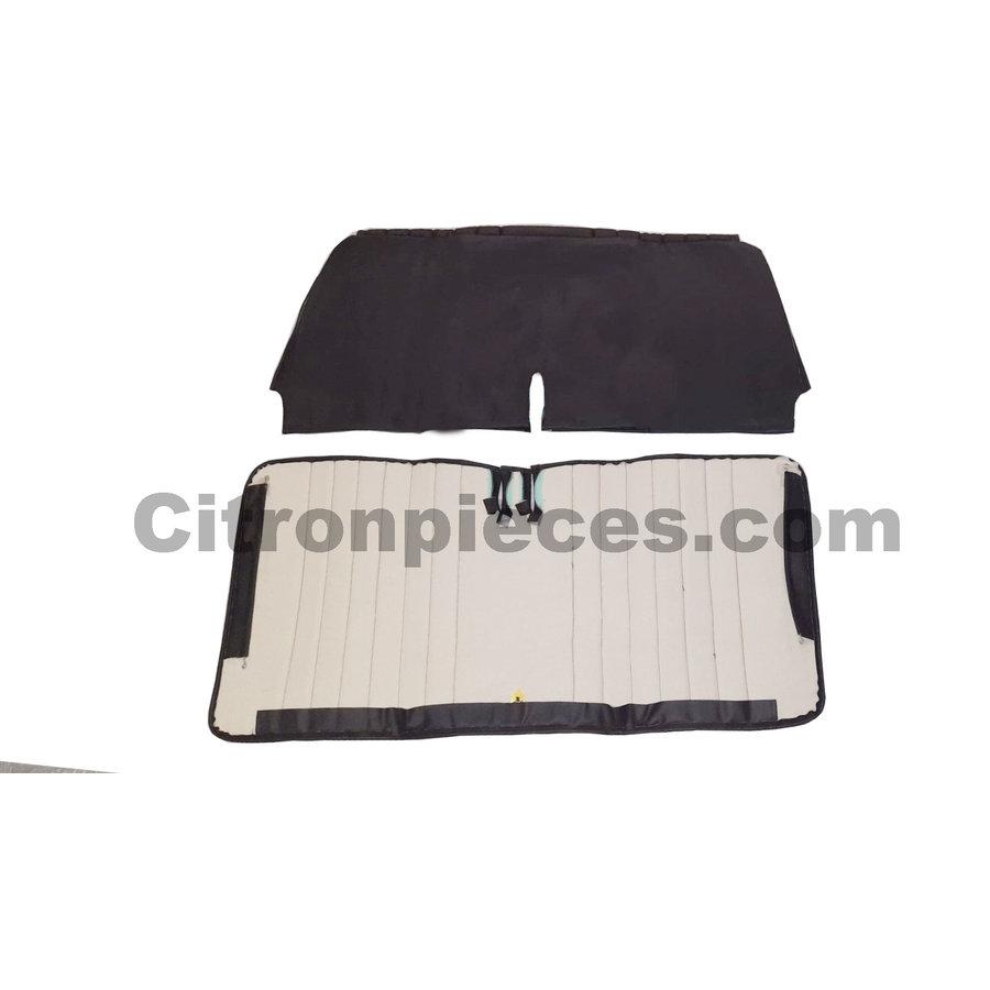 Original seat cover set for front bench in black leatherette Dyane Citroën 2CV --2