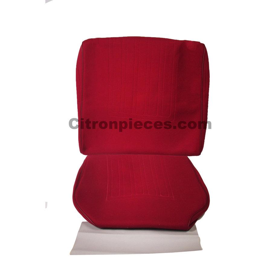 Satz für Vordersitzbezug Stoff-bezogen rot (1 Farbton): Sitz + Rückenlehne + Abschlussfüllung in weißemTarga Waffel-Modell Citroën ID/DS-1