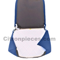 thumb-Seat cover set for front L seat (2 round angles) in blue cloth Charleston Citroën 2CV-2