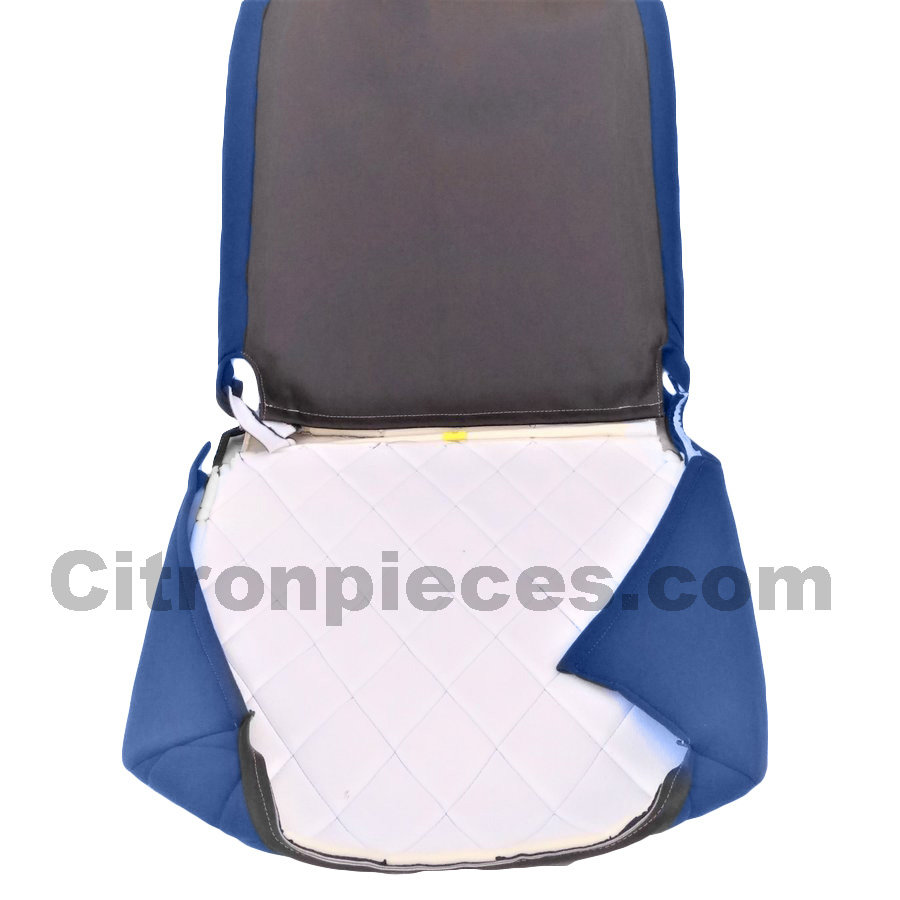 Seat cover set for front L seat (2 round angles) in blue cloth Charleston Citroën 2CV-2