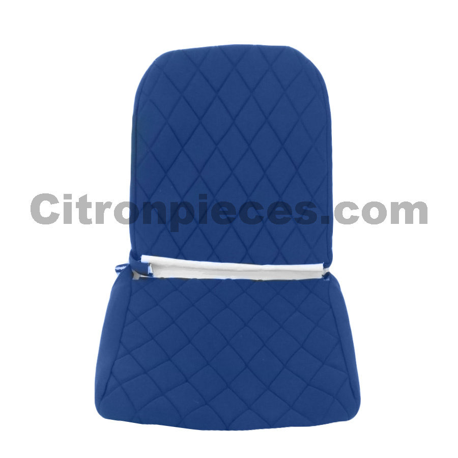 Seat cover set for front L seat (2 round angles) in blue cloth Charleston Citroën 2CV-1