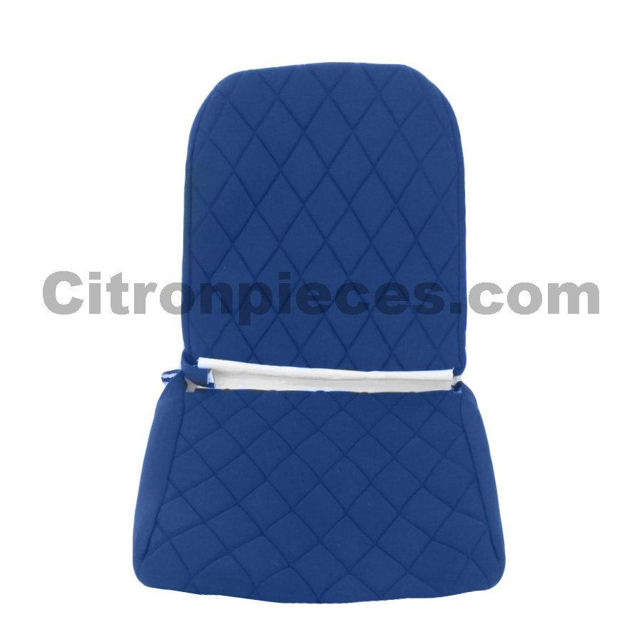 Sitzbezug Vordersitz links (Rückenlehne mit 2 abgerundeten Ecken) blauer Stoff Charleston Citroën 2CV-1