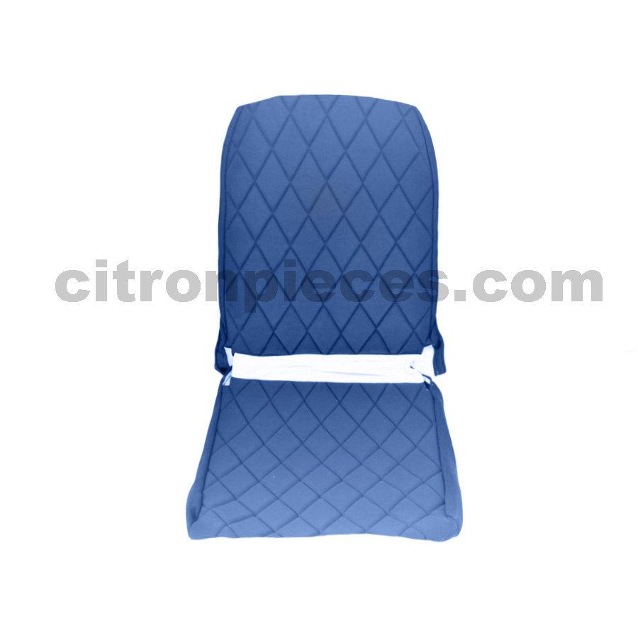 Sitzbezug Vordersitz rechts (Rückenlehne mit 2 abgerundeten Ecken) blauer Stoff Charleston Citroën 2CV-1