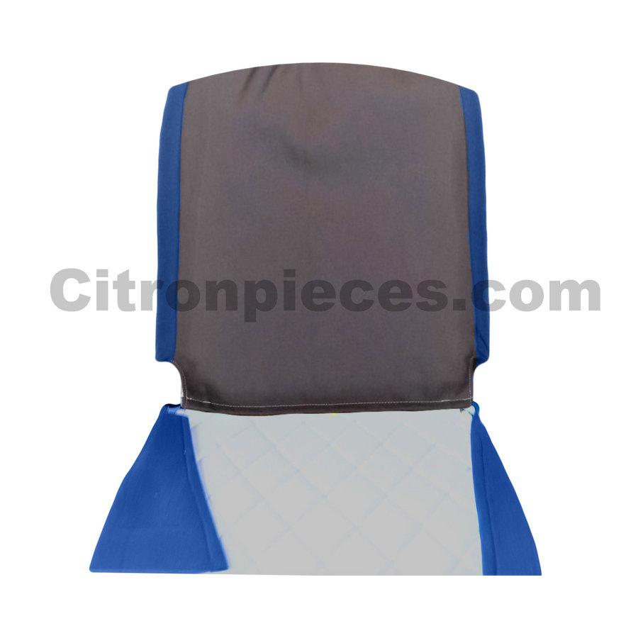 Sitzbezug Vordersitz rechts (Rückenlehne mit 2 abgerundeten Ecken) blauer Stoff Charleston Citroën 2CV-2