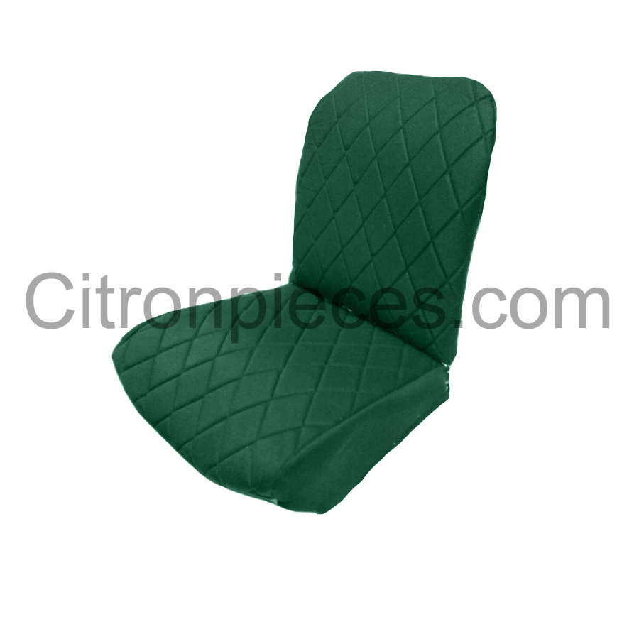 Original seat cover set for front L seat (2 round angles) in green cloth Charleston Citroën 2CV-2