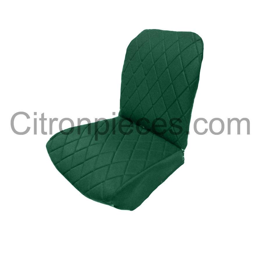 Original Sitzbezug Vordersitz links (Rückenlehne mit 2 abgerundeten Ecken) grün Stoff Charleston Citroën 2CV-2