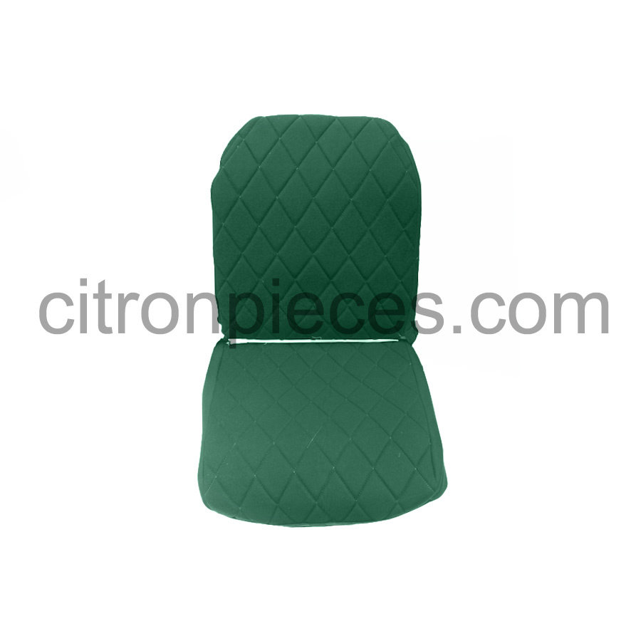 Original seat cover set for front L seat (2 round angles) in green cloth Charleston Citroën 2CV-3