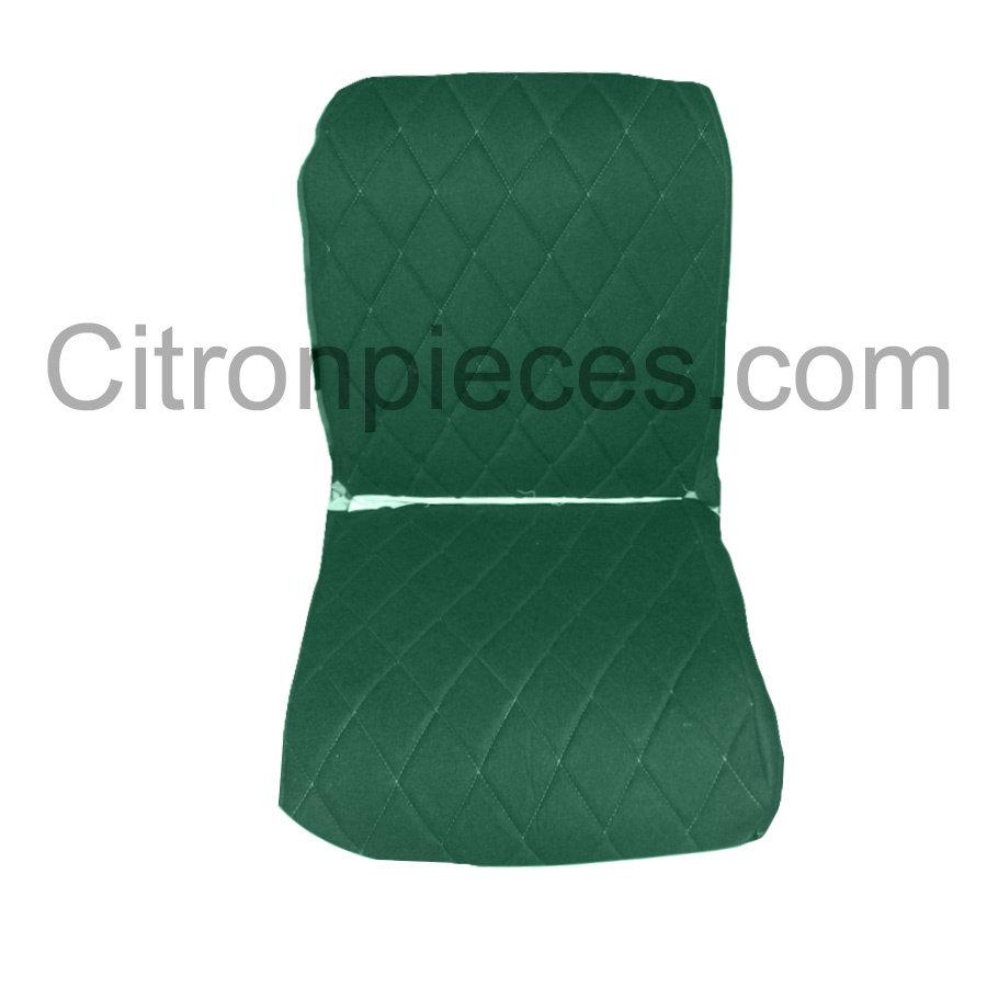 Original Sitzbezug Vordersitz links (Rückenlehne mit 2 abgerundeten Ecken) grün Stoff Charleston Citroën 2CV-1