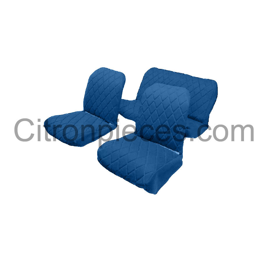 Set van 2 voorstoelhoezen (2 ronden kanten) en 1 achterbank blauw stof Citroën 2CV - Copy-1