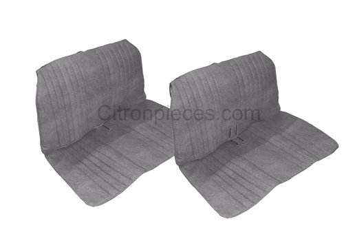 2CV Seat cover set, front and rear, blue denim, open sides, 2CV.
