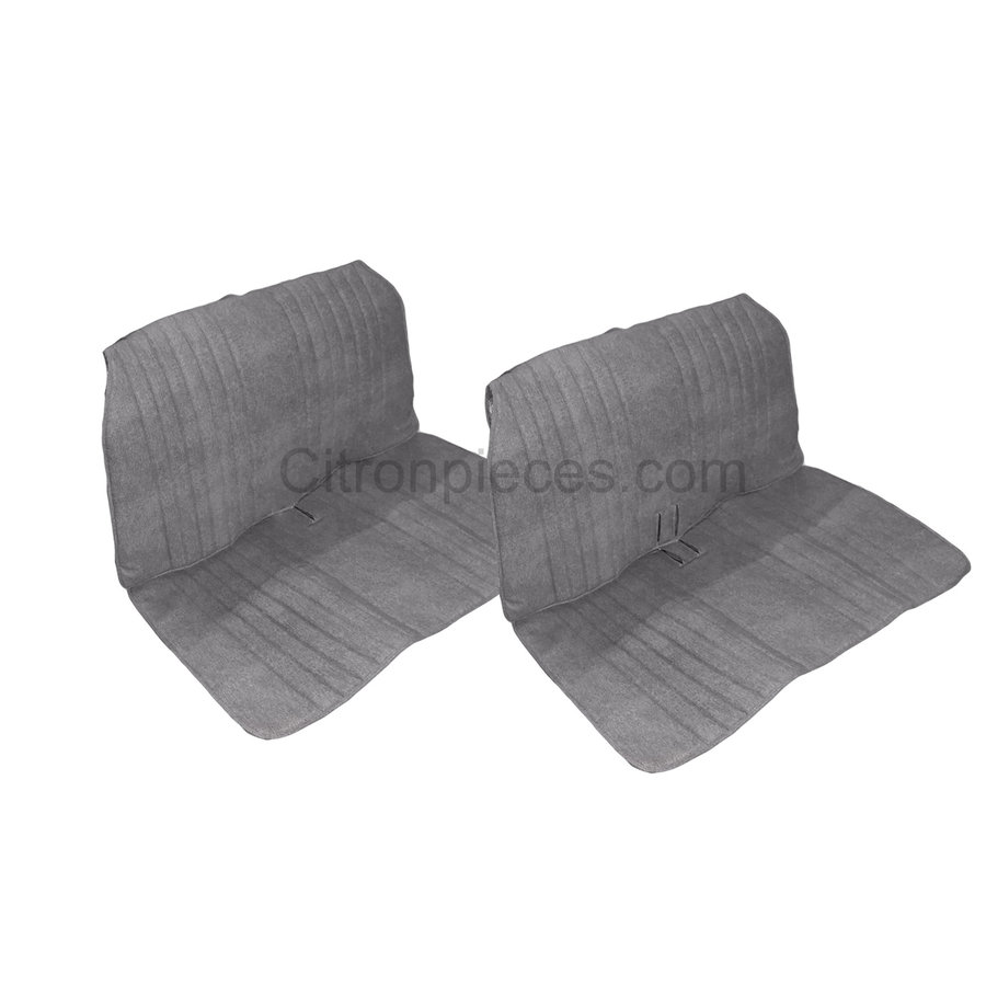 Seat cover set, front and rear, blue denim, open sides, 2CV.-1