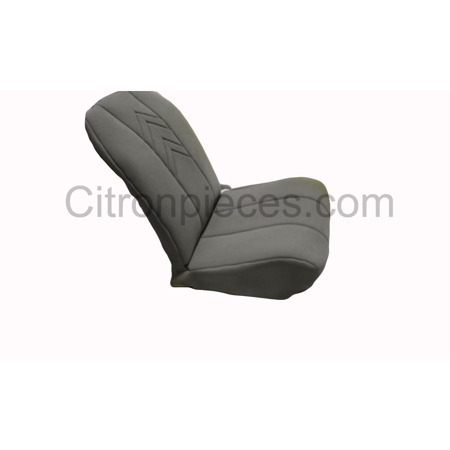 Original seat cover set for front L seat (2 round angles) in gray cloth with old Citroën logo Citroën 2CV-1