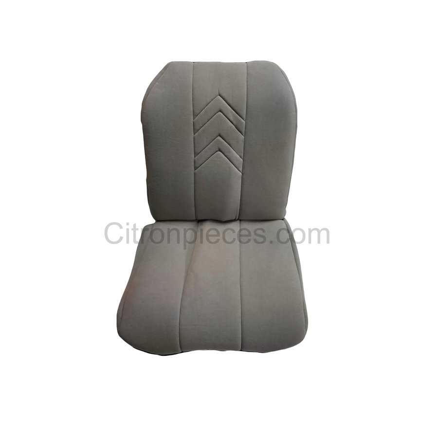 Original seat cover set for front L seat (2 round angles) in gray cloth with old Citroën logo Citroën 2CV-2
