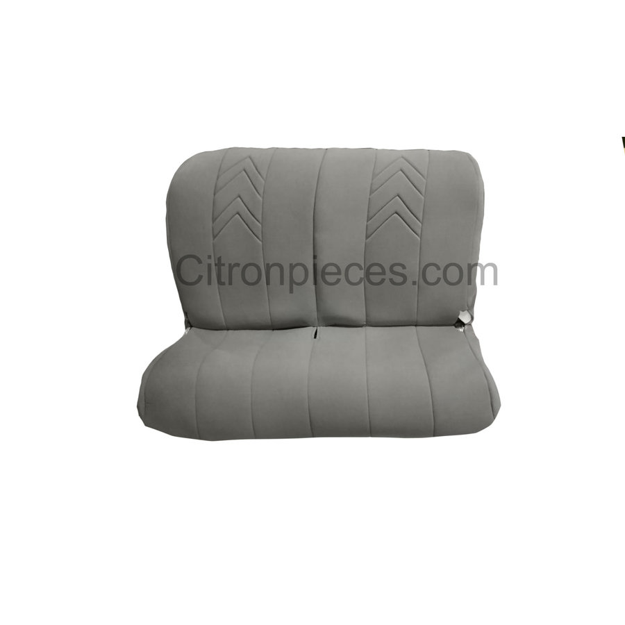 Original seat cover set for rear bench in gray cloth with old Citroën logo Citroën 2CV-1