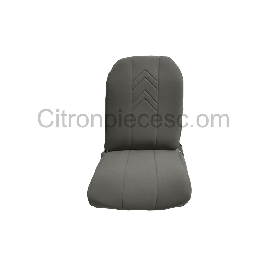 Original seat cover set for front R seat (2 round angles) in gray cloth with old Citroën logo Citroën 2CV-1