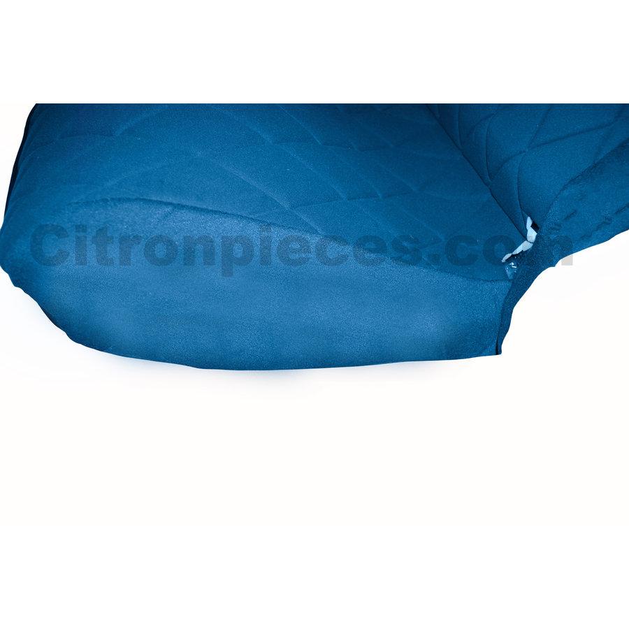 Original seat cover set for rear bench in blue cloth Charleston Citroën 2CV-3