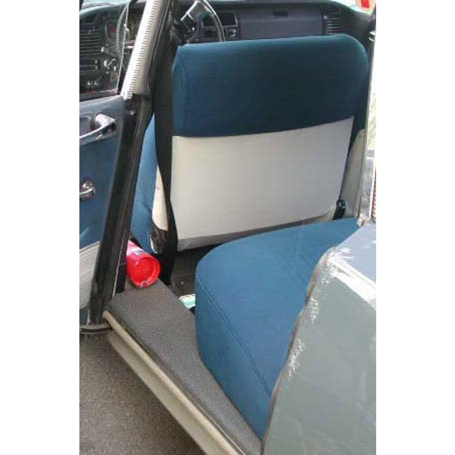 Garniture siège AV en étoffe bleu unie pour assise + dossier Panneau de fermeture en simili blanchâtre imprimé gauffre Citroën ID/DS-5