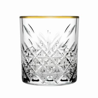GLAS TUMBLER GOLD EDGE   CASE 4 GLASSES