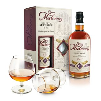 MALECON 15. RESERVA SUPERIOR GIFTPACK WITH GLASSES