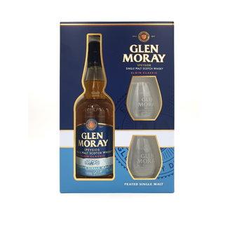 GLEN MORAY PEATED GIFTPACK MET GLAZEN