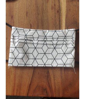 KV Mondmasker herbruikbaar - Wit zwart patroon