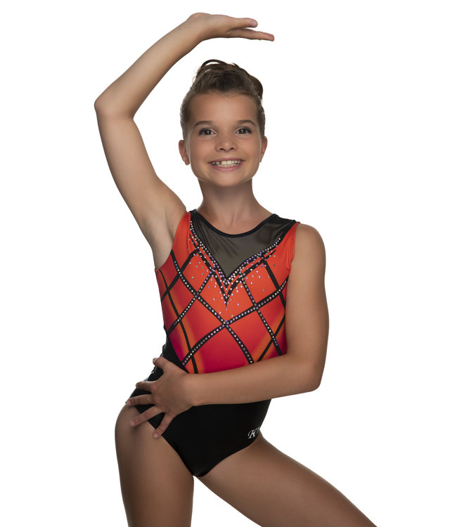 "KV Gymnastics Wear Leotard ""Rebel"" orange"