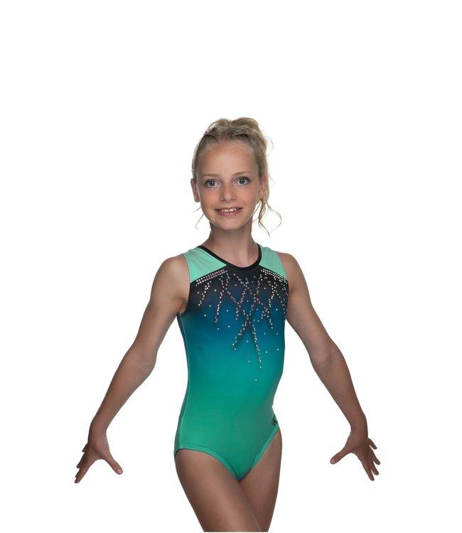 """KV Gymnastics Wear Turnpakje """"Roxy Mouwloos"""" groen"""