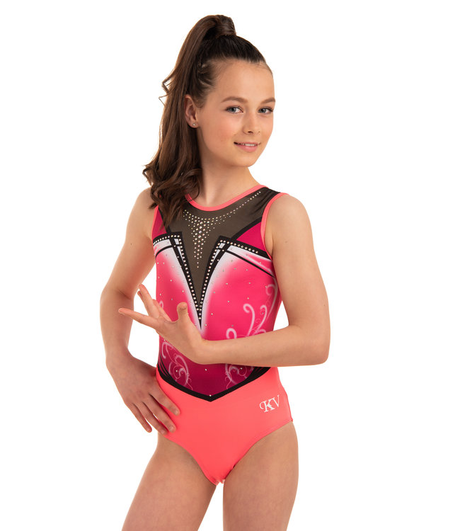 "KV Gymnastics Wear Leotard ""Enya"" Coral"