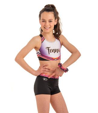 "KV Gymnastics Wear Setje ""Summer Vibes"" pink - topje + broekje + scrunchie twv €54,97!"
