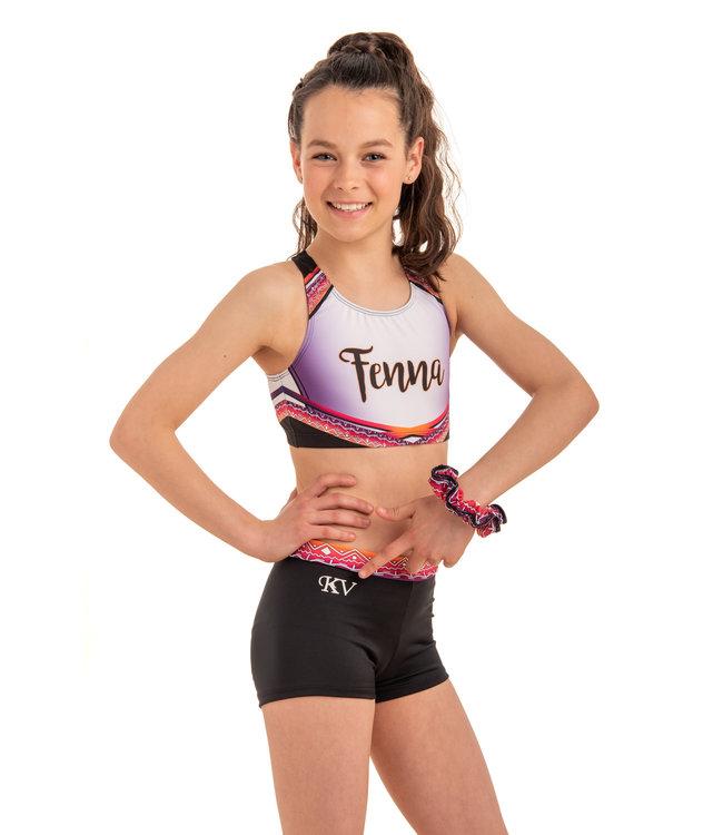 "KV Gymnastics Wear Set ""Summer Vibes"" pink - top + shorts + scrunchie worth €54,97!"