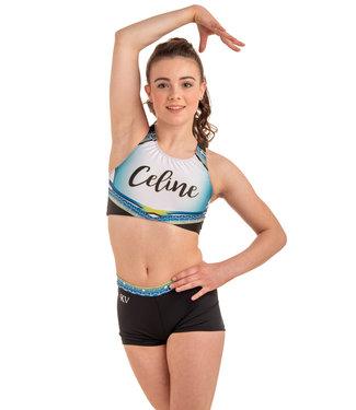 "KV Gymnastics Wear Set ""Summer Vibes"" lime - top + shorts + scrunchie worth €54,97!"