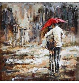 Eliassen Metaal schilderij 100x100cm Regen