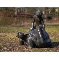 Image bronze boy on turtle